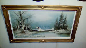 Winter scene painting
