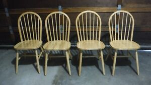 Four Hardwood Kitchen Chairs, As New