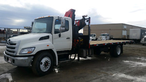 2012 HINO 358 WITH FASSI CRANE AND 24FT DECK