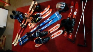 5 pairs of skis. boots.poles. helmets. Will deliver