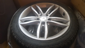 """Mercedes C class 17"""" OEM rims set with almost new A/S m+s tires"""