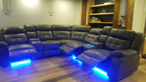 Home theater sectional sofa with power recliner