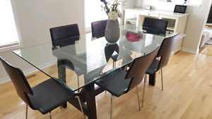 West Elm glass dining table set