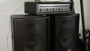 P.A SYSTEM 2 150 WATT SPEAKERS 4 CHANNEL MIXER ,TRIPOD TELECOPIC Kingston Kingston Area image 1