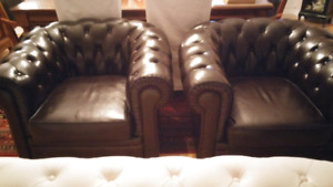 Genuine leather armed chairs