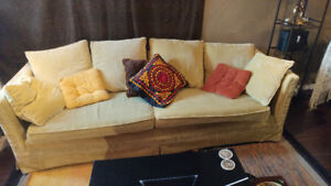 Vintage plush green couch