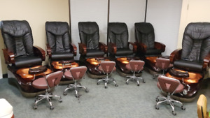 6 Gorgeous Black Pedicure Spa Chairs -  **like NEW**