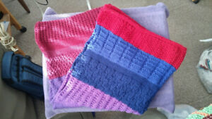 Hand knitted Lap blankets ,for wheelchairs, or kids blankets etc