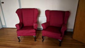 Vintage pair of wing back arm chairs