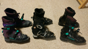 Telemark skis skins and boots
