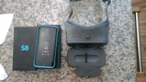 Unlocked samsung galaxy S8 with otterbox case and VR headset
