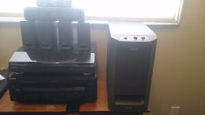 8 piece Sony Surround Sound System with subwoofer and turntable