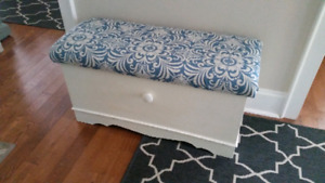 Painted and Reupholstered cedar chest