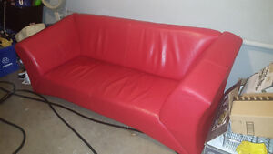 Italian red leather couch