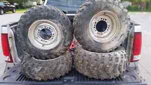 Rims and tires for a Polaris Sportsman