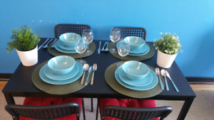 İKEA table and 4 chair and flower 2,  Plate( ikea total 18...for