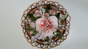 VINTAGE RATTAN AND REAL SEASHELL WALL ART