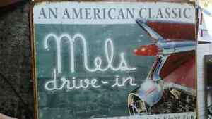 Vintage car,  Mel's drive in tin sign London Ontario image 1