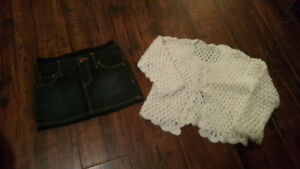 Jean skort from Baby Gap and sweater from Old Navy. Size 6 to 12