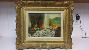 Antique listed Hungarian artist still life oil painting