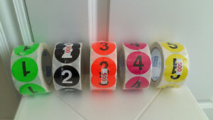 "2"" Circle 'number' Labels /stickers, 500 per roll @$15 per roll"