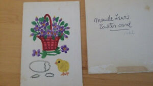 MAUD LEWIS Hand-Painted!  Homemade Easter card SIGNED