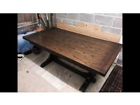 Vintage dark oak extending table