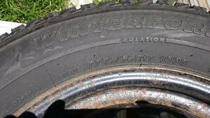 Firestone Winter Tires and Rims set, low KMs on tires! London Ontario image 2