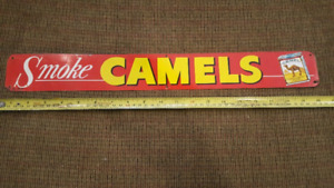 AWESOME SMOKE CAMELS No. 855B Antique Tin Sign