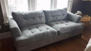 Micro fibre baby blue couch