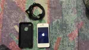 White IPhone 4s with Case and Charging Cord