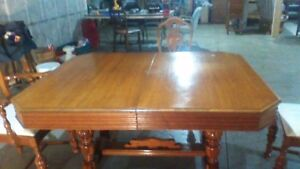 ANTIQUE TABLE ,CHAIRS &CABINET