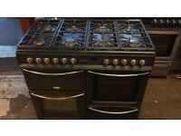 Black belling range gas cooker and electric ovens 100cm