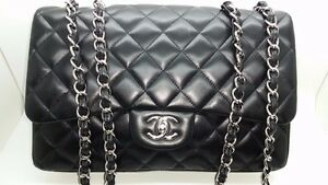 Authentic CHANEL Quilted Lambskin jumbo single flap‏ SHW