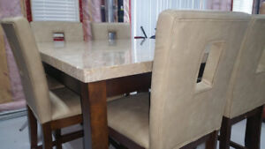 FAUX MARBLE 7 PC COUNTER HEIGHT DINING SET-BARELY USED,LIKE NEW