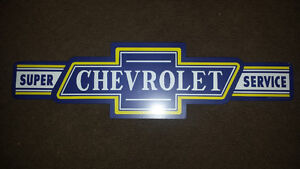 Super Chevrolet Service Sign Metal Embossed GM Man-Cave