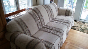 Elegant couch, comfy, good condition, some cat scratch damage