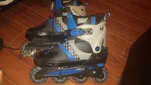 Rollerblades and protective gear!! Adjustable size!