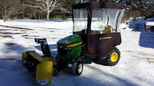 "John Deere X320 lawn tractor with 48"" deck and snowblower"