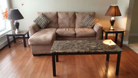 Moving Sale!! Couch, Queen bed set, coffee table and end tables