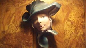 GORGEOUS SIGNED LEATHER WOMAN HEAD BUST WALL HANGER