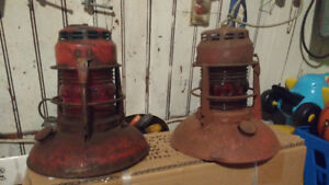 Antique traffic/ rail red lamps