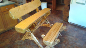 Log bench and foot stool
