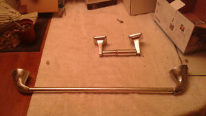 Chrome Towel Bar and Toilet Paper Holder