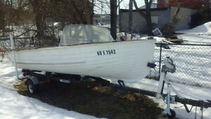 15' fiberglass runabout with motor and trailer