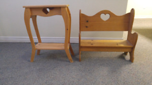 Pine side table and bench.