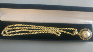 14k 24inch Rope Chain with pendant.