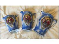 Vintage Ceramic Blue Decorated Jugs (Set of 3)