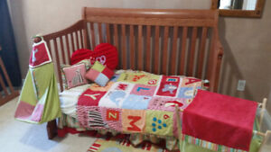 3 in 1 convertible crib, mattress, change table dresser