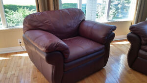 Leather couch and 2 over sized chairs/ottoman